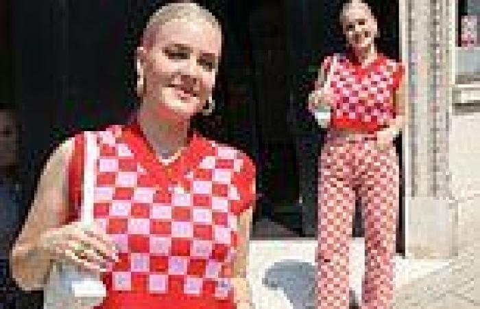Singer Anne-Marie is a vision of pink as she dazzles in a checkered matching ...