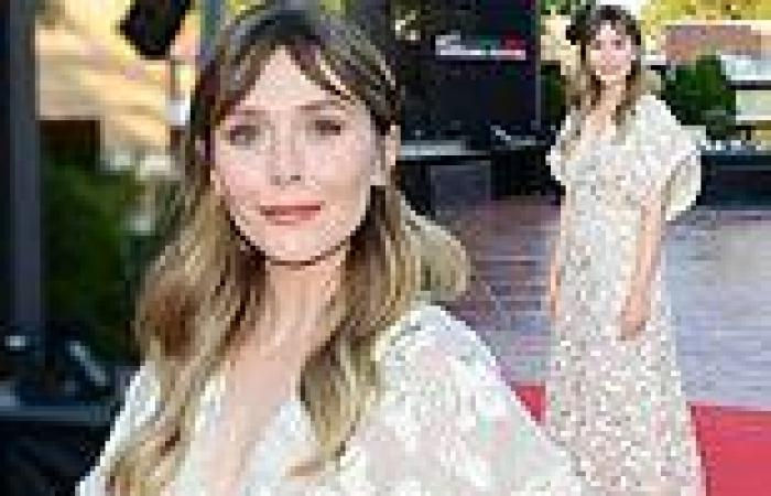Elizabeth Olsen wows in a plunging blush gown at the Filming Italy Festival in ...