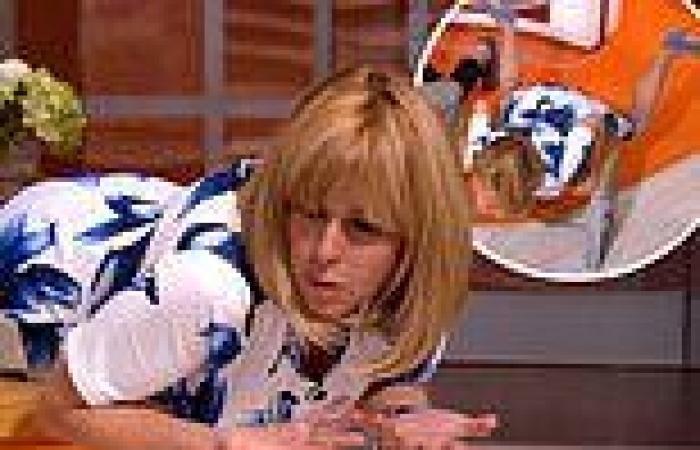 Kate Garraway performs the 'breast strock' on a bench in hilarious GMB ...