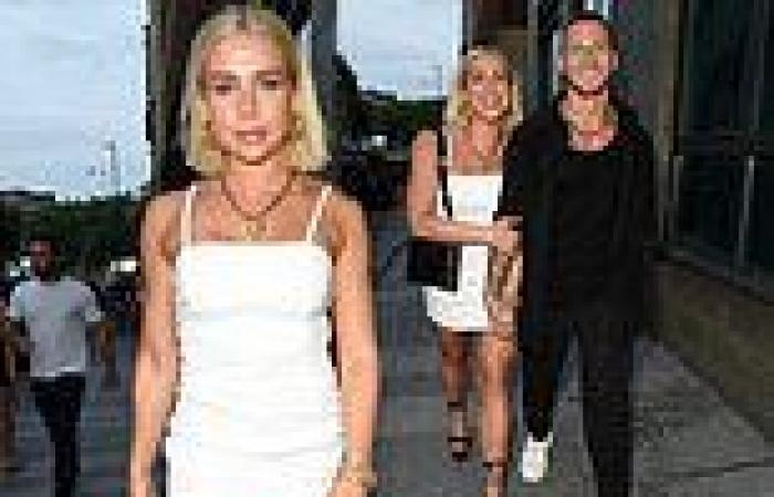 Gabby Allen puts on leggy display in thigh-skimming dress as she holds ...