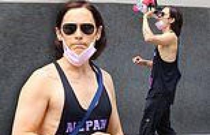 Jared Leto looks fit in a black tank top after working up a sweat at a gym in ...