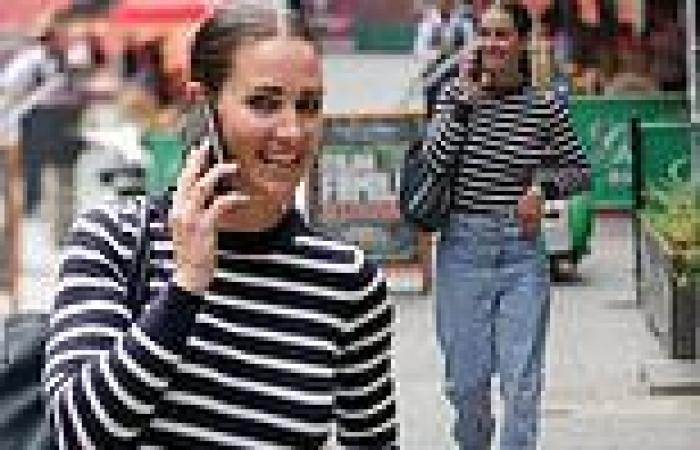 Kirsty Gallacher cuts a casual figure in jumper and mom jeans as she steps out ...