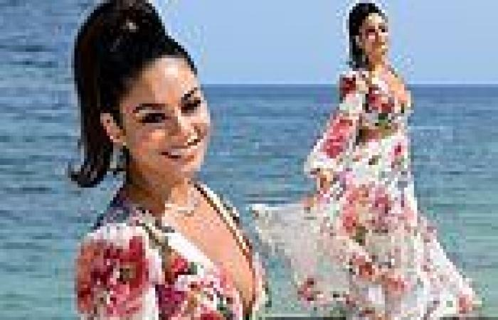 Vanessa Hudgens looks elegant in a plunging floral maxi dress at Filming Italy ...