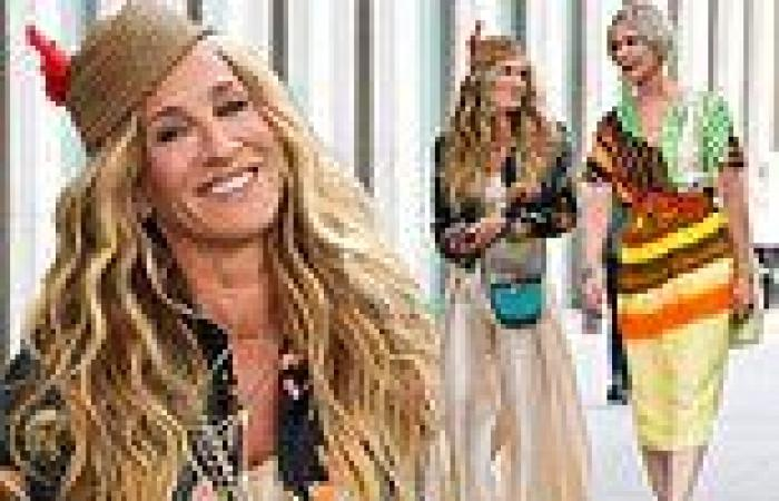Sarah Jessica Parker and Cynthia Nixon look like best friends while shooting ...