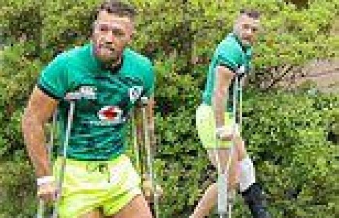 Conor McGregor leans on crutches amid broken leg recoveryi n LA