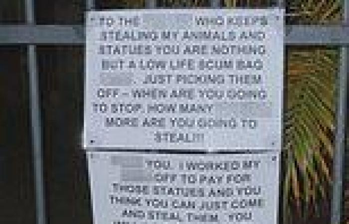 Thief who pinched prized animal statues from front yard issued a note demanding ...