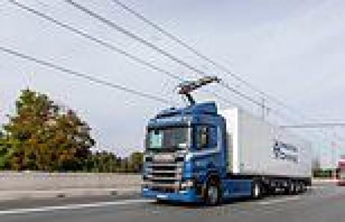 Lorries could run on overhead power lines motorways in bid to 'decarbonise' ...