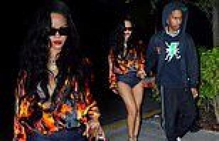Rihanna sizzles in hot pants and a flaming silk shirt during date night with ...