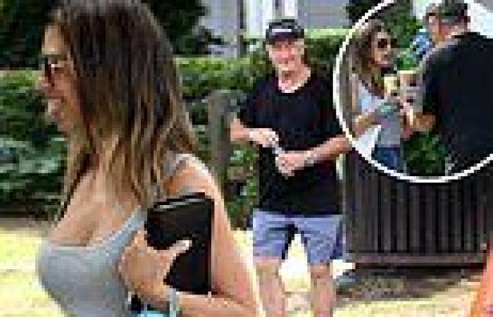 Hilaria Baldwin dons tank top with Daisy Dukes for iced coffee outing with her ...