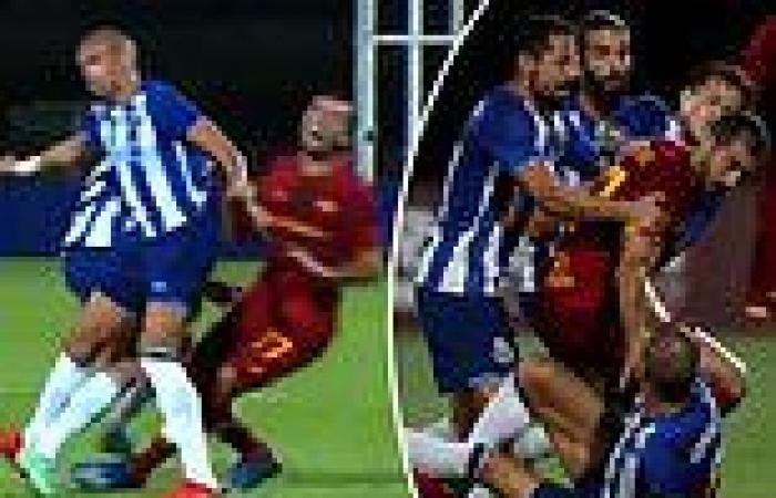 sport news Pepe triggers mass brawl in Porto friendly with Roma after Henrikh Mkhitaryan ...