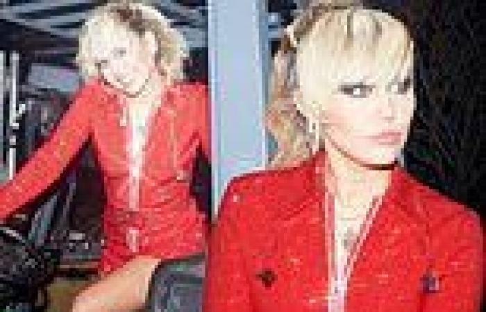 Miley Cyrus looks red hot in a sparkly Gucci jumpsuit as she shares snaps ...