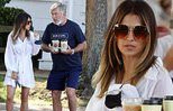Hilaria Baldwin wears a semi-sheer cover-up as she and Alec stop for coffee in ...