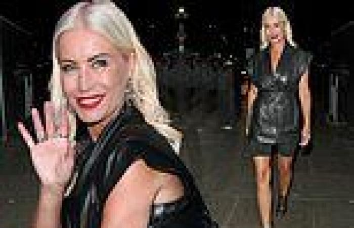 Denise Van Outen turns heads in a sexy black leather shirt dress