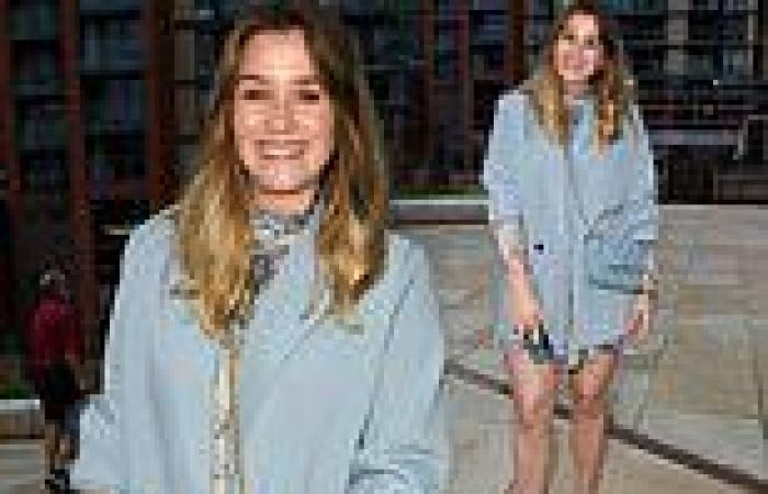 Coronation Street's Brooke Vincent puts on a leggy display in a grey minidress
