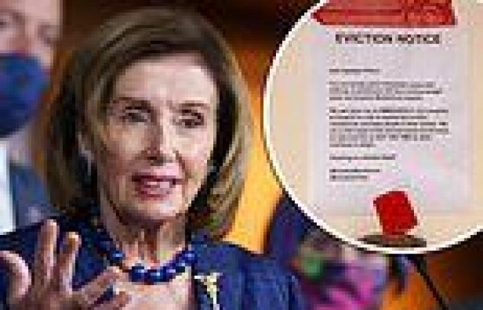 Protestors pin 'eviction notice' on Nancy Pelosi's mansion as eviction ...