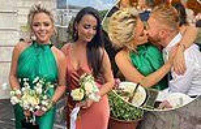 Emily Atack stuns in an emerald dress at sister's wedding and packs on the PDA ...