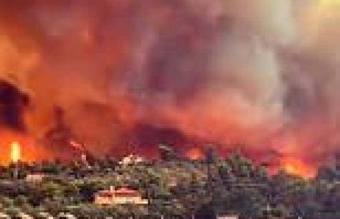 Dramatic footage shows Greek island engulfed in flame as residents are forced ...