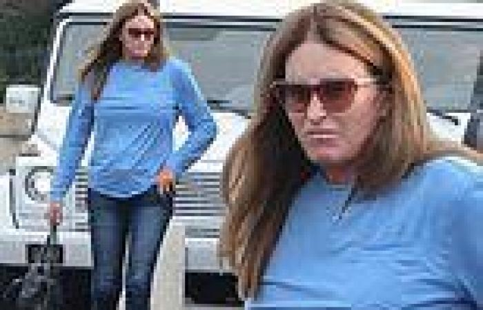 Caitlyn Jenner keeps it simple in a long-sleeve T-Shirt and blue jeans at ...