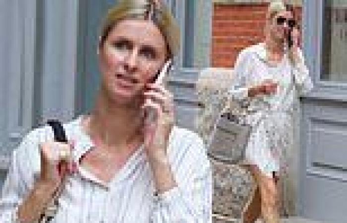 Nicky Hilton is the picture of summer chic in clashing stripe patterns while on ...