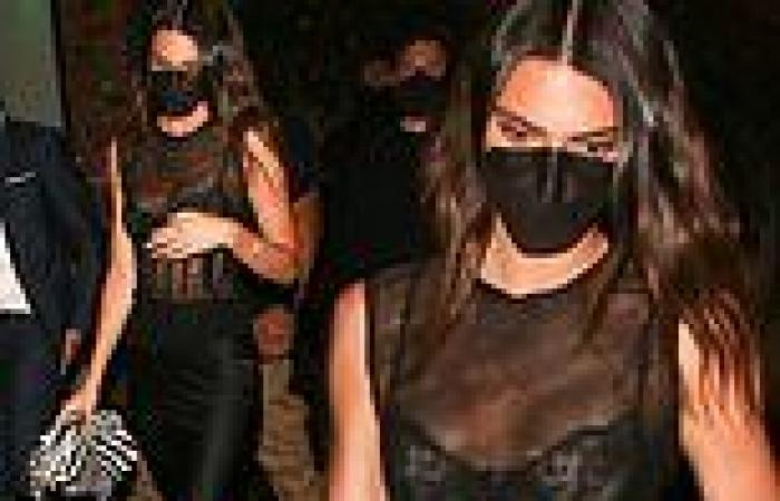 Kendall Jenner oozes sex appeal in a mesh LBD as she exitsBeauty & Essex in ...