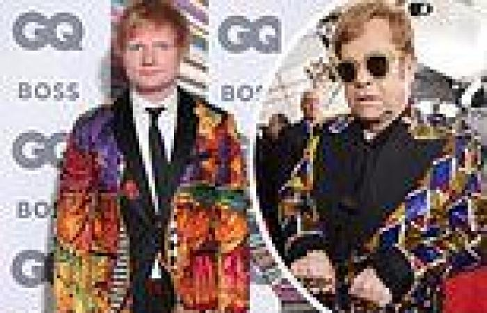 Ed Sheeran dons an eye-catching jacket which pal Elton John lent him for the ...