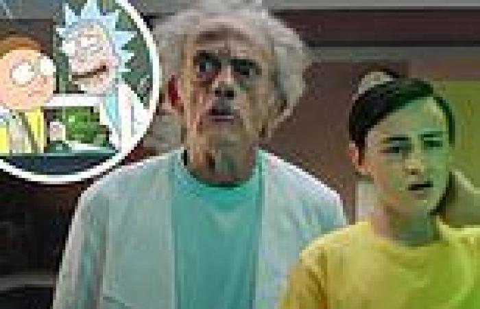 Christopher Lloyd plays Rick with Jaeden Martell as Morty in the live-action ...