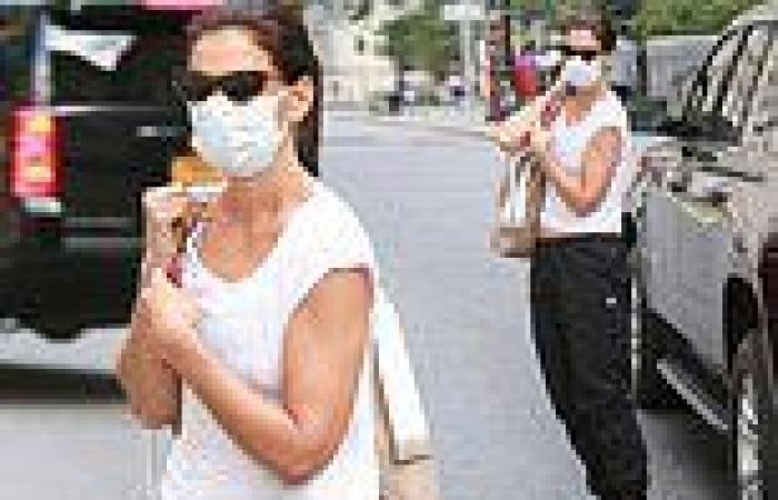 Katie Holmes cuts a low-key figure in a white tee and relaxed jogging bottoms ...