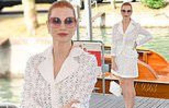 Jessica Chastain looks typically stylish as she arrives at Venice Film Festival