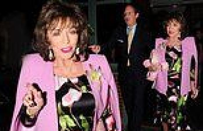 Dame Joan Collins, 88, cuts a glamorous figure in a floral silk dress