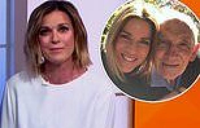Kylie Gillies fights back tears as she speaks about attending her late dad's ...