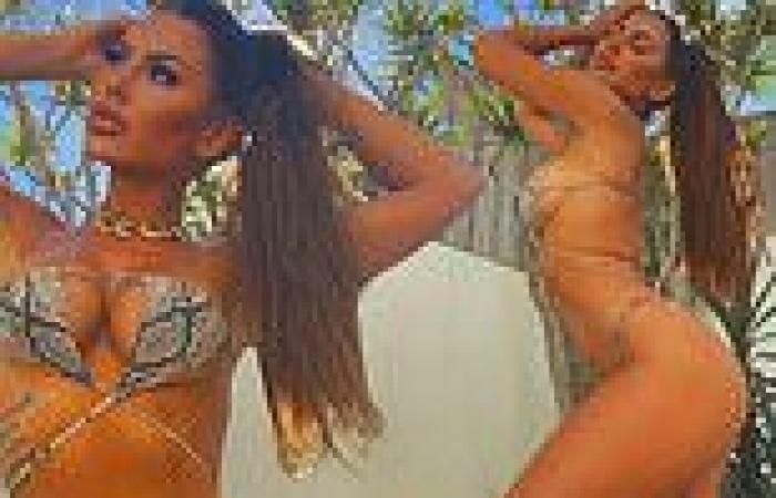 Kiki Morris shows off incredible figure in a tiny snakeskin bikini - after ...
