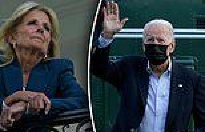 Joe Biden waves to Jill as she waits for him on the Truman balcony of White ...