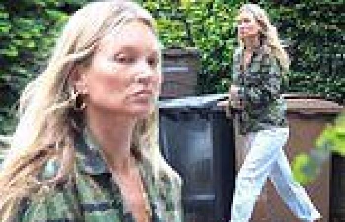 Kate Moss looks fresh faced as she goes make up free while stepping out in blue ...
