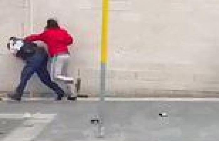 Shocking footage emerges of the moment man in a tracksuit repeatedly 'knees ...