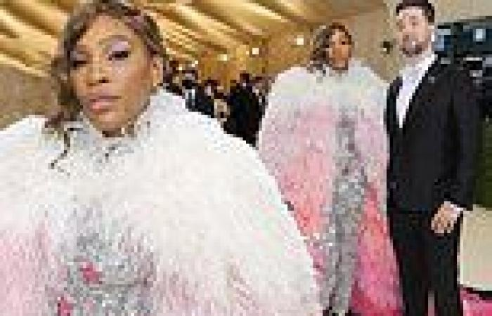 Serena Williams gets glammed out in Gucci and a colorful ombre cape at the 2021 ...