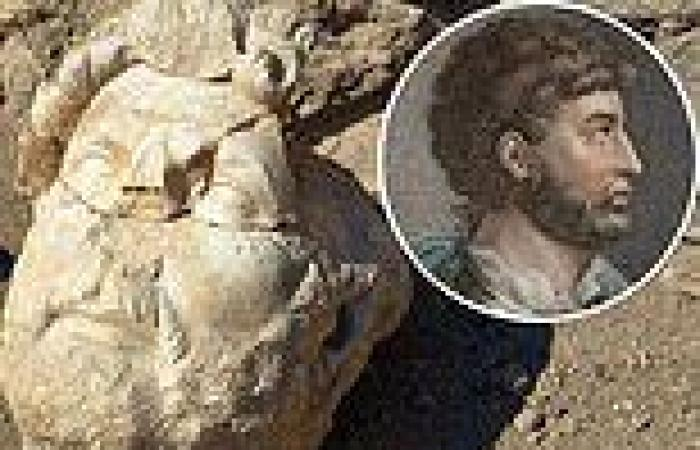 Eight-foot statue of Roman emperor Hadrian   discovered in pieces nearly 2,000 ...