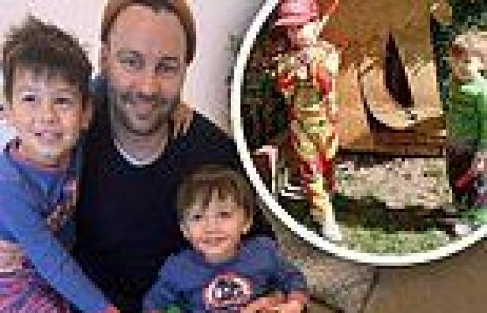 Jimmy Bartel shares cute pictures with his sons in their yard as they dress in ...