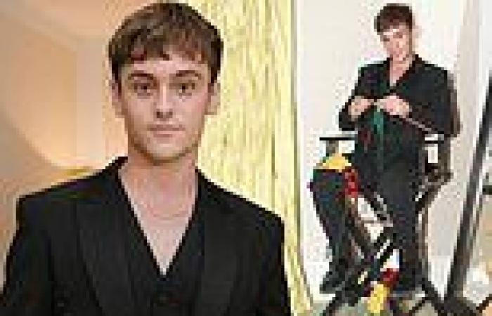 Tom Daley shares photos in a lace-up black suit from the Met Gala including him ...