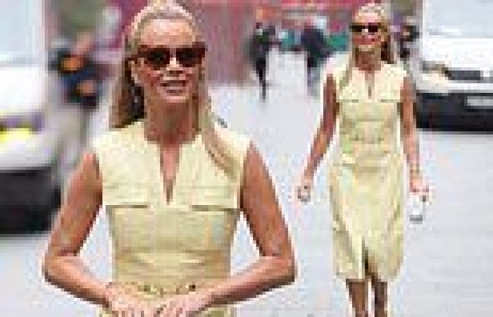 Amanda Holden is the epitome of chic in a knee-length lemon dress as she heads ...