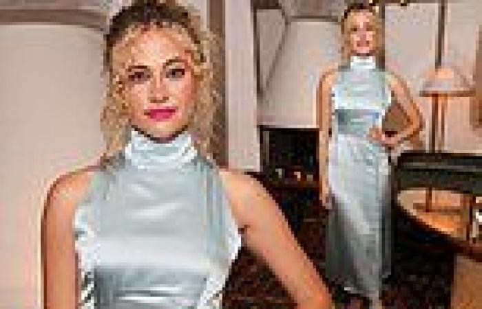 Pixie Lott is the belle of the ball in a silk Cinderella-blue frock for ...