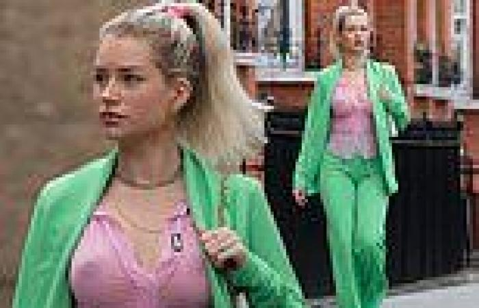Lottie Moss goes braless as she enjoys a stroll in a sheer pink shirt and ...