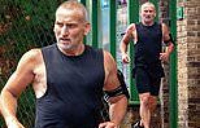 Doctor PHEW! Muscular Christopher Eccleston, 57, enjoys a jog ahead of his ...