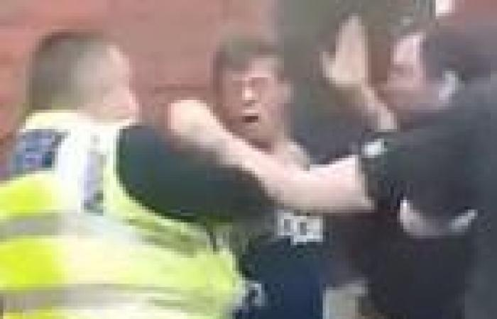 Moment police officer PUNCHES drinker in the FACE during frenzied tussle to ...