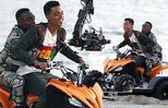 Jabari Banks and Olly Sholotan film scene from Fresh Prince of Bel-Air reboot ...