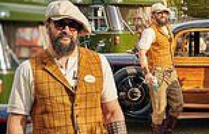 Jason Momoa dons his vintage best for a day of motor racing at Goodwood Revival