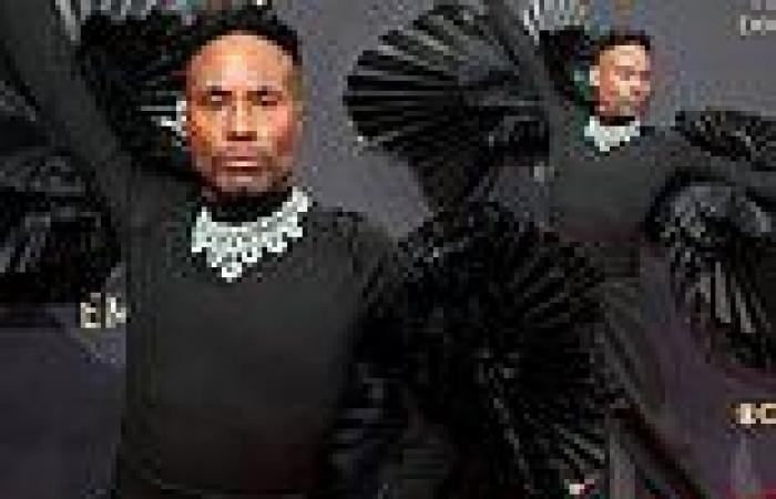 Pose star Billy Porter flaunts his fanned sleeves at the Emmy Awards