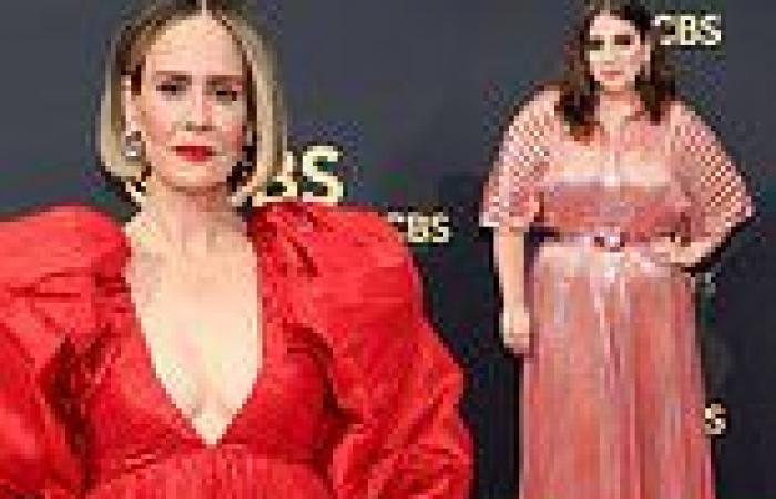 Sarah Paulson and Beanie Feldstein stun onthe red carpet to the 73rd ...