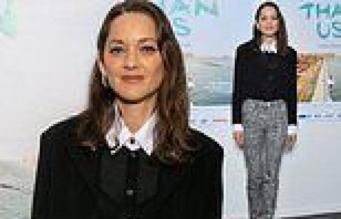 Marion Cotillard, 45, looks chic in a sheer black blouse at the Bigger Than Us ...