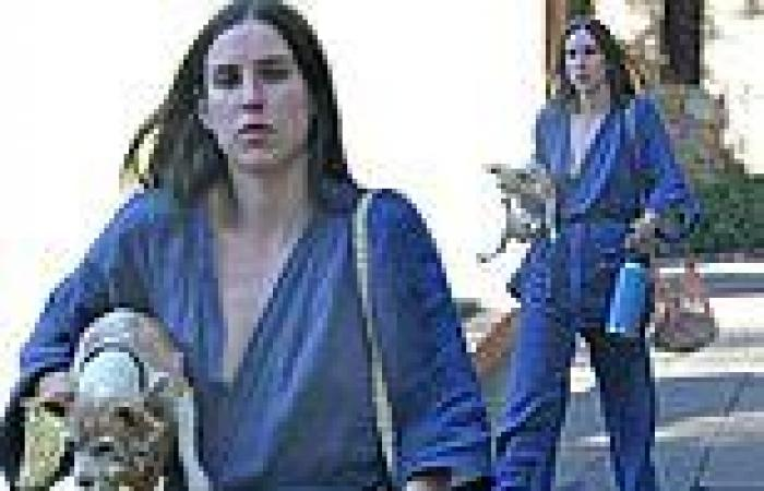 Scout Willis looks chic in blue as she carries her beloved Chihuahua Grandma ...