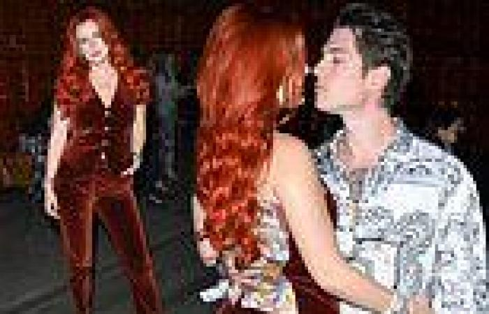 Bella Thorne and fiancé Benjamin Mascolo lock lips before Etro runway show in ...